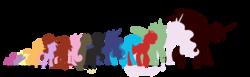 Size: 1600x495   Tagged: safe, artist:faith-wolff, apple bloom, applejack, king sombra, princess cadance, princess celestia, princess luna, scootaloo, sweetie belle, twilight sparkle, alicorn, changeling, changeling queen, earth pony, kaiju pony, pegasus, pony, unicorn, fanfic:the bridge, anguirus, bridge, crossover, cutie mark crusaders, destoroyah, destoroyah (female), ethereal mane, fanart, fanfic, female, filly, foal, godzilla, godzilla (series), height, kaiju changeling, kaiju griffon, male, mare, mothra, mothra lea, rodan, simple background, size chart, spacegodzilla, spread wings, stallion, transparent background, twilight sparkle (alicorn), wings, xenilla