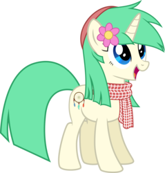 Size: 5857x6137   Tagged: safe, artist:diamondsword11, oc, oc only, oc:minty, pony, unicorn, absurd resolution, clothes, female, flower, flower in hair, happy, hat, open mouth, scarf, simple background, smiling, solo, transparent background, vector