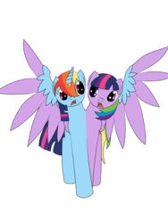 Size: 2448x3264 | Tagged: safe, artist:roxy-cream, rainbow dash, twilight sparkle, alicorn, pony, blue and purple wings, conjoined, ettin, ettin pony, female, fused, fusion, half alicorn half pegasus, lesbian, lol, monster, multiple heads, open mouth, race swap, rainbowcorn, shipping, shocked, strange, together forever, twidash, twilight sparkle (alicorn), two heads, wat, we have become one, weird, what has science done, wide eyes, wtf
