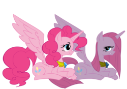 Size: 1000x700 | Tagged: alicorn, artist:chickensoup, duality, element of laughter, pinkamenacorn, pinkamena diane pie, pinkiecorn, pinkie pie, pixiv, pony, prone, race swap, safe, solo, xk-class end-of-the-world scenario