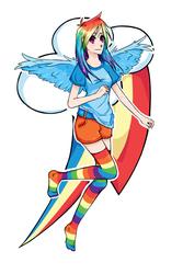 Size: 1000x1500 | Tagged: safe, artist:ange4l, rainbow dash, human, clothes, humanized, missing shoes, rainbow socks, socks, solo, striped socks, winged humanization