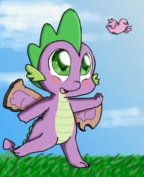 Size: 730x900 | Tagged: safe, artist:diamond--rose, spike, bird, dragon, baby, baby dragon, blushing, cardboard, cardboard wings, cute, fake wings, fangs, flying, grass, green eyes, heartwarming in hindsight, hilarious in hindsight, it happened, male, spikabetes, wings