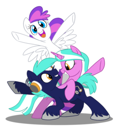Size: 840x920 | Tagged: safe, artist:nanook123, oc, oc only, oc:blank canvas, oc:hoof beatz, oc:mane event, earth pony, pegasus, pony, unicorn, bronycon, bronycon mascots, cheering, cute, eye contact, grin, headphones, hoofevent, leaning, looking at you, open mouth, simple background, smiling, squee, transparent background, unshorn fetlocks