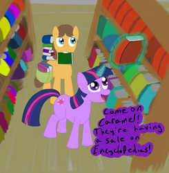 Size: 943x963 | Tagged: safe, artist:tggeko, caramel, twilight sparkle, book, caralight, female, male, shipping, straight