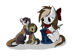 Size: 1024x768 | Tagged: safe, artist:hikariviny, doctor whooves, time turner, oc, oc only, oc:sweet lullaby, ferret, pegasus, pony, doll, offspring, parent:doctor whooves, parent:roseluck, parents:doctorrose, plushie, tardis