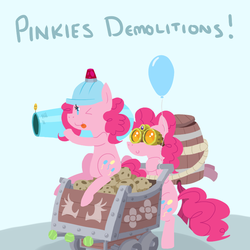 Size: 800x800 | Tagged: safe, artist:elslowmo, pinkie pie, balloon, barrel, cart, crossover, dota 2, goggles, helmet, muffin, party cannon, pinkamena diane pie, techies, tennis ball