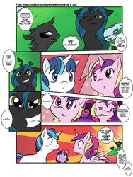 Size: 900x1194 | Tagged: artist:tailzkipzigona, changeling, changeling queen, comic, female, filly, filly twilight sparkle, hearts and hooves day, oh come on, princess cadance, princess chrysalis, queen chrysalis, safe, shining armor, shipper on deck, teen princess cadance, twilight sparkle, younger