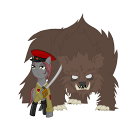 Size: 2000x2000   Tagged: safe, artist:anonymous, oc, oc only, oc:veronika, bear, earth pony, pony, boots, clothes, communism, female, hammer and sickle, hat, mare, rivalry, shirt, solo, sword