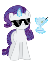 Size: 488x600   Tagged: safe, rarity, female, like a boss, martini, simple background, solo, sunglasses, swag, transparent background, vector
