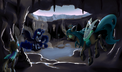 Size: 5997x3551 | Tagged: safe, artist:nadnerbd, princess luna, queen chrysalis, alicorn, changeling, changeling queen, pony, absurd resolution, cave, fanfic art, female, fight, major injury underreaction, mare, nightmare luna, quadrupedal, scared, surprised