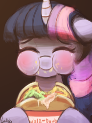 Size: 720x960 | Tagged: safe, artist:lumineko, twilight sparkle, alicorn, pony, :i, blushing, burger, cute, eyes closed, female, food, hamburger, happy, hoof hold, in n out, mare, messy eating, ponies eating meat, puffy cheeks, smiling, solo, that pony sure does love burgers, twiabetes, twilight burgkle, twilight sparkle (alicorn)