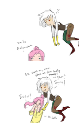 Size: 501x784 | Tagged: safe, artist:demdoodles, discord, fluttershy, human, ask the genderswapped mane 7, blushing, butterscotch, comic, covering, discoshy, eris, eriscotch, female, floating, frown, hape, humanized, male, open mouth, question mark, rule 63, shipping, shy, smiling, straight, wide eyes