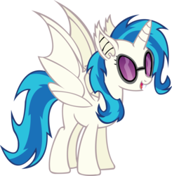 Size: 2284x2334 | Tagged: alicorn, artist:fluttershy750, bat pony, bat wings, dj pon-3, fangs, female, glasses, hooves, horn, mare, open mouth, pony, race swap, safe, simple background, solo, sunglasses, teeth, transparent background, vector, vinylbat, vinylcorn, vinyl scratch