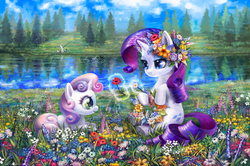 Size: 1000x665 | Tagged: safe, artist:son-trava, rarity, sweetie belle, oc, oc:marussia, earth pony, pony, unicorn, beautiful, color porn, description in comments, fishing, floral head wreath, flower, grass, lake, magic, meadow, nation ponies, outdoors, ponified, prone, russia, scenery, scenery porn, sisters, sitting, water