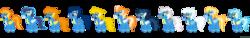 Size: 10000x1500 | Tagged: safe, artist:larsurus, blaze, fire streak, fleetfoot, high winds, lightning streak, misty fly, silver lining, silver zoom, soarin', spitfire, surprise, wave chill, simple background, transparent background, vector, wonderbolts, wonderbolts uniform