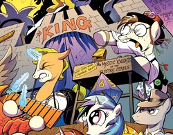 Size: 1045x814 | Tagged: safe, artist:andypriceart, idw, 33 1-3 lp, dj pon-3, gaffer, gizmo, long play, observer (character), vinyl scratch, boy george, frankie goes to hollywood, little girls, new wave, oingo boingo, song reference, the mystic knights of the electric stable, xylophone