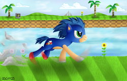 Size: 1100x700 | Tagged: safe, artist:oggynka, ponified, solo, sonic the hedgehog, sonic the hedgehog (series)