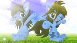 Size: 1600x900 | Tagged: safe, artist:an-m, oc, oc only, oc:abstract module, oc:reflect decrypt, twins