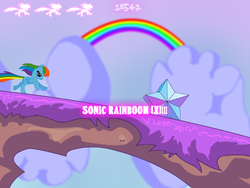 Size: 900x676   Tagged: source needed, safe, artist:rattlesire, rainbow dash, crossover, robot unicorn attack, solo
