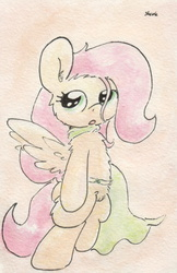 Size: 670x1034 | Tagged: safe, artist:slightlyshade, fluttershy, pegasus, pony, cape, clothes, female, solo, traditional art