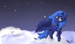 Size: 1200x700   Tagged: safe, artist:fluttair, princess luna, cloud, cloudy, ear fluff, looking up, night, s1 luna, shooting star, solo, spread wings, stars