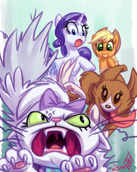 Size: 800x1000   Tagged: safe, artist:whitediamonds, applejack, opalescence, rarity, winona, female, lesbian, oh crap, rarijack, rarijack daily, shipping, shipping denied, this will end in pain, this will end in tears, this will end in tears and/or death, this will not end well, winopal