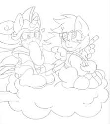 Size: 1544x1732 | Tagged: safe, artist:blackbewhite2k7, derpy hooves, rarity, anime, chi-chi, crossover, derpity, dragon ball, female, filly, goku, lesbian, monochrome, nimbus cloud, shipping, sketch, wip, younger
