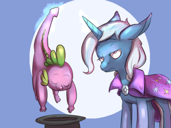 Size: 1280x960 | Tagged: safe, artist:imsokyo, spike, trixie, daily sleeping spike, annoyed, inconvenient, inconvenient spike, inconvenient trixie, role reversal, sleeping, trixie is not amused, unamused