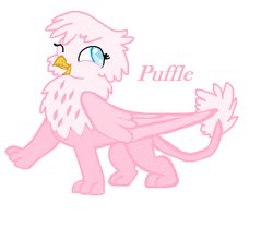 Size: 766x638 | Tagged: artist:moonsaphirre, cute, griffon, hybrid, interspecies offspring, magical lesbian spawn, oc, oc only, oc:puffle, offspring, parent:gilda, parent:pinkie pie, parents:gildapie, safe, solo