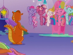 Size: 640x480   Tagged: safe, screencap, cheerilee (g3), pinkie pie (g3), rainbow dash (g3), starsong, toola roola, twinkle wish, whimsey weatherbe, g3, g3.5, twinkle wish adventure, jumping, smiling, that's what makes a friend
