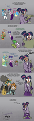 Size: 900x3189 | Tagged: safe, artist:egophiliac, applejack, fluttershy, pinkie pie, rainbow dash, rarity, snails, snips, spike, twilight sparkle, human, robot, steamquestria, artificial intelligence, bustle, chimney sweep, clothes, comic, facepalm, gray background, humanized, implied trixie, inconvenient trixie, malfunction, mane six, offscreen character, simple background, steampunk, underwear, victorian