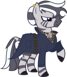 Size: 2424x2760 | Tagged: safe, artist:duskthebatpack, oc, oc only, oc:asya, zebra, clothes, coat, earring, female, frown, glare, mare, necklace, raised hoof, simple background, solo, transparent background, vector
