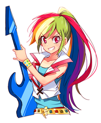 Size: 670x819 | Tagged: safe, artist:megarexetera, rainbow dash, human, equestria girls, rainbow rocks, clothes, cute, dashabetes, electric guitar, female, grin, guitar, humanized, ponytail, simple background, smiling, solo, white background