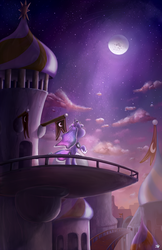 Size: 1100x1699 | Tagged: artist:bobdude0, balcony, banner, canterlot, leaning, looking up, moon, moonlight, night, princess luna, raised hoof, safe, scenery, scenery porn, solo, stars, technical advanced