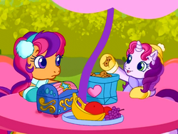 Size: 640x480 | Tagged: safe, screencap, scootaloo (g3), sweetie belle (g3), earth pony, pony, unicorn, g3.5, twinkle wish adventure, clothes, cookie, dexterous hooves, earmuffs, female, holding, implications, mittens, scarf, wat