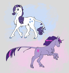 Size: 844x900 | Tagged: safe, artist:sayuri1314, rarity, twilight sparkle, classical unicorn, chest fluff, cloven hooves, rearing, smiling, trotting, unshorn fetlocks