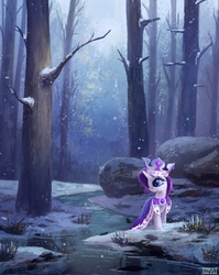 Size: 2300x2888 | Tagged: safe, artist:ajvl, princess platinum, rarity, pony, unicorn, cloak, clothes, crown, featured image, female, forest, high res, mare, river, scenery, scenery porn, smiling, snow, snowfall, solo, tree, water