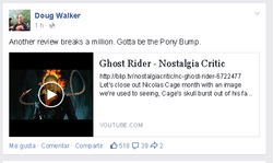 Size: 512x305 | Tagged: barely pony related, doug walker, facebook, ghost pony rider, ghost rider, nostalgia critic, safe, text