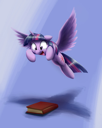 Size: 3287x4111   Tagged: safe, artist:otakuap, twilight sparkle, alicorn, pony, absurd resolution, adorkable, behaving like a cat, book, cute, dork, excited, eyes on the prize, featured image, female, floppy ears, mare, open mouth, paint tool sai, possessive, pounce, shadow, simple background, smiling, solo, spread wings, sweet dreams fuel, that pony sure does love books, twiabetes, twilight cat, twilight sparkle (alicorn), wide eyes