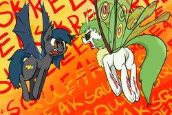 Size: 2400x1600 | Tagged: angry, angry moth noises, artist:whydomenhavenipples, bat pony, chest fluff, eeee, eye contact, fangs, female, fluffy, frown, glare, mare, moth noises, mothpony, oc, oc:actias, oc only, oc:speck, open mouth, original species, plot, pony, safe, screech, skree, spread wings, squeak, underhoof