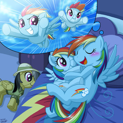 Size: 900x900 | Tagged: safe, artist:uotapo, daring do, rainbow dash, pegasus, pony, bed, blushing, cuddling, cute, dashabetes, dream, drool, eyes closed, female, flying, grin, hug, mare, narcissism, open mouth, plot, plushie, rainbow dash plushie, rainbow dash's house, self plushidox, self ponidox, sleeping, smiling, snuggling, spread wings, uotapo is trying to murder us, uotapo will kill us all