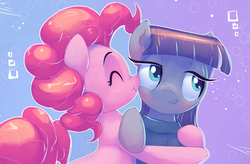 Size: 1999x1313 | Tagged: safe, artist:gsphere, maud pie, pinkie pie, earth pony, pony, boop, clothes, cute, diapinkes, eyes closed, female, hug, mare, maudabetes, nose wrinkle, noseboop, scrunchy face, sibling love, siblings, sisterly love, sisters, smiling, when she smiles