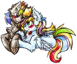 Size: 1013x843   Tagged: safe, artist:iroxykun, oc, oc only, oc:kaleidoscope star, oc:sterling spectrum, pegasus, pony, unicorn, art trade, couple, female, horn, male, mare, oc x oc, rainbow, rainbow hair, stallion, wings
