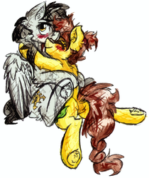 Size: 1093x1304 | Tagged: safe, artist:iroxykun, oc, oc only, pegasus, pony, art trade, blushing, couple, cutie mark, female, gay, hug, lesbian, male, mare, nuzzling, oc x oc, wings