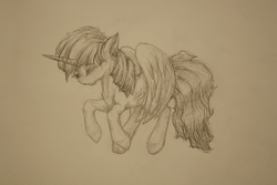 Size: 1600x1067 | Tagged: safe, artist:anemonepetal, twilight sparkle, alicorn, pony, eyes closed, female, mare, monochrome, solo, traditional art, twilight sparkle (alicorn)