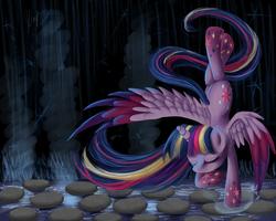 Size: 2000x1600 | Tagged: safe, artist:wourdeluck, twilight sparkle, alicorn, pony, eyes closed, female, mare, meditating, rainbow power, solo, twilight sparkle (alicorn)