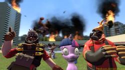 Size: 1366x768 | Tagged: safe, artist:mok-axe, rarity, twilight sparkle, human, pony, unicorn, 3d, demoman, ghostly gibus, gmod, heavy weapons guy, pyro, spy, sunglasses, team fortress 2, unicorn twilight, wat