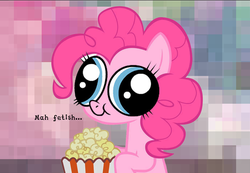 Size: 900x624 | Tagged: derp face, hey you, pinkie pie, popcorn, safe, text, that is my fetish