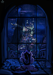 Size: 615x873 | Tagged: safe, artist:jowybean, smarty pants, twilight sparkle, pony, unicorn, airship, bed, canterlot, city, cityscape, featured image, female, filly, filly twilight sparkle, mountain, night, prone, scenery, scenery porn, skyline, solo, watching, window
