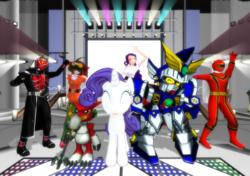 Size: 1024x720 | Tagged: safe, artist:php74, rarity, shoutmon, 3d, crossover, digimon, gundam, human ponidox, kamen rider, kamen rider wizard, magi red, mahou sentai magiranger, mmd, power rangers, power rangers mystic force, red mystic ranger, sd gundam, sd gundam force, super sentai, yu-gi-oh!, yu-gi-oh! arc-v, yuya sakaki, zero the winged knight